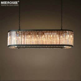 rectangle dining room modern chandeliers 2019 - Vintage Crystal Chandelier Lighting Rectangle Luminaires Hanging Light Modern Crystal Restaurant Hotel American Style Dr