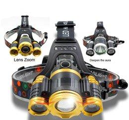 Ingrosso 3 fari bici luci fari t6 fari bicicletta carica luce LED equipaggiamento esterno luci di guida