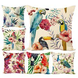 birds car 2019 - Pillow Cover Multicolor Hot Cotton Pillow Case Parrot Bird Tropical Plant Print Cushion Cover Car Waist Pillowcase cheap
