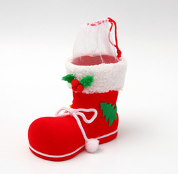 Wholesale Long Boots Australia - Christmas flocking boots Christmas decorations Christmas stockings Christma gifts candy gifts factory direct sales Christmases Decoration