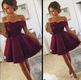 Wholesale Cheap Dark Red Satin Homecoming Dresses Off Shoulder Short Formal Prom Dress For Teens Sweet Girls Cocktail Party Dress Club Wear