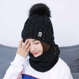 b4b9f4e6ace Winter Hat Scarf Set Womens Acrylic Pompom Skullies New Knitted Hats Warm  Velvet Collar Hot Fashion Letter Beanie for Ladies