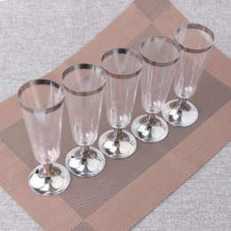 plastic goblets 2019 - 6OZ 180ml Disposable Plastic Goblet for Wine Champagne Cocktail Picnic Tableware Wedding Party Cup 30pcs lot DEC410 disc