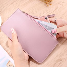cell phone shapes NZ - wholesale New Arrival Wallets for Women Concise Casual Fashion Cell Phone Pocket Solid Color Red Navy Blue Black Long Wallet
