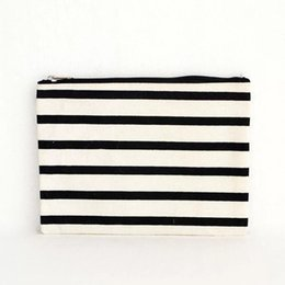 Promotional Cosmetic Bags Wholesale UK - Wholesale striped promotional cosmetic custom small blank canvas zipper bag makeup bag with DHL free shipping