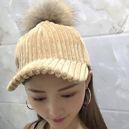 2299cafb1da New Rabbit Fur Branded Baseball Caps Snapback Dad Hat Winter Fur Pompom Hats  For Women Knitted Pompon Trucker Cap Bonnet