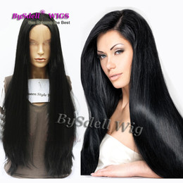 Discount premium synthetic lace wigs Premium Natural Synthetic Lace Front Wig Long Silky Straight Black Hair African American Wigs for White  Black Women