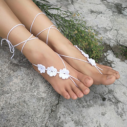 Wholesale Crochet white barefoot sandals Nude shoes Foot jewelry Beach wear Yoga shoes Bridal anklet bridal beach accessories white lace sandals S2081
