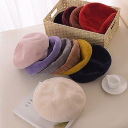 $enCountryForm.capitalKeyWord Canada - 2018 new autumn and winter beret hat ladies solid color chenille painter hat thick warm warm comfortable breathable elegant head cap