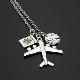 $enCountryForm.capitalKeyWord Canada - Stamped Journey Necklace Plane Globe Earth Compass Passport Charms Necklace Travel Necklace For Women Men Gift