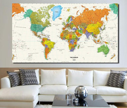 World map canvas oil painting australia new featured world map large modern enlish world map oil painting canvas pictures nordic decorative painting wall art no frame for home decor gumiabroncs Images