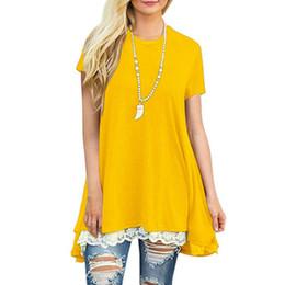 Lace Splice T Shirt Australia - Autumn 2019 Casual Basic T Shirt Women Long Sleeve Splice Lace Top O Neck Loose High Low Irregular Hem Long Women Tunic T-Shirt