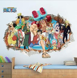 Wholesale One Piece Luffy Wall Sticker For Kids Rooms Children Room Decor Wall Decal Through Wall Poster Decal KKA5852