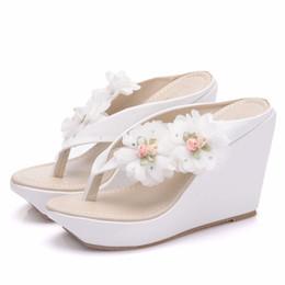 8e6a1e2e5b88c6 New Bohemia style beach slippers for women flowers wedge heels fashion  platform beading wedding shoes flip flops Plus Size Bridal sandals