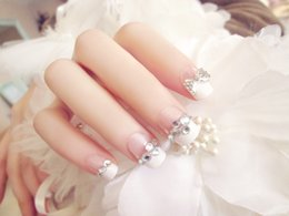 $enCountryForm.capitalKeyWord NZ - New 24 pieces Wedding Party Noble Lady French 3D Fashion with designs Sexy Style Long Fake false Sticker Nails Tips With Glue