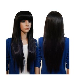 virgin hair wigs for sale Canada - Glueless free shipping virgin human hair fashion sexy natural color bangs natural straight long full lace top wig for sale