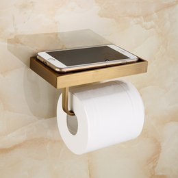 Discount wall mount phone holder Vintage Toilet Paper Holder With Phone Shelf Wall Mounted Bathroom Roll Paper Holder Mobile Phone Rack Antique Brass Fin