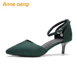 $enCountryForm.capitalKeyWord NZ - summer women sandals high thin heel big size 44 45 46 buckle strap cover heel classic pointed toe sweet style pink green shoes