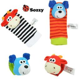 Discount wholesale plush monkeys - 6 Styles 2pcs set Baby Rattle Toys Zebra Plush Wrist Toys Kids Cute Foot Socks Cartoon Animal Wristband Baby Birthday Gi