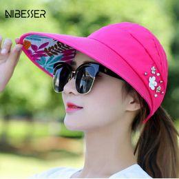 b0b853f683686 NIBESSER Pearl Packable Sun Visor Hat Summer Women Beach Sun Hats With Big  Heads Wide Brim UV Protection Female Cap