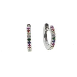 7bdf2f228251 Moda de mujer 925 pendientes de plata esterlina mezcla de colores aretes de  piedra pavimentada con AAA cz bar Rainbow Girl jewelry