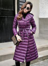 $enCountryForm.capitalKeyWord Canada - 2018 Down Jacket Female Vintage A line Overcoat Ultralight Winter Down Coat Women Long Warm Parka With Belt