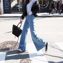 office lift 2018 - Bleached Vintage Flare Jeans for Women Butt Lift Korean High Waisted Wide Leg Jeans Office Lady Denim Pants Plus Size ch