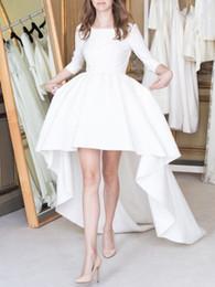 $enCountryForm.capitalKeyWord Australia - New Arrival Asymmetrical Wedding Dress 2018 With Long Sleeves Short Front Long Back Satin Court Train Wedding Gowns Cheap