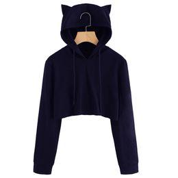 b07b81a8fa20 good quality Cute Womens Sweatshirts Hoodie Crop Tops Solid Cat Ear Long  Sleeve Cropped Sweatshirt Hooded Pullover Tolstovka  L
