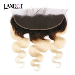ombre lace frontal closure NZ - Ombre 1B 613 Bleach Blonde Lace Frontal Closure 13x4 Size Brazilian Peruvian Malaysian Indian Russian Virgin Human Hair Closures Body Wave