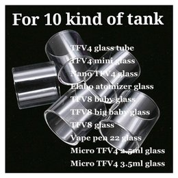 Micro Mini baby online shopping - TFV4 Mini Nano TFV4 Elabo Atomizer TFV8 big baby glass mm Vape pen Micro TFV4 ml ml Clear Replacement Pyrex Glass Tube