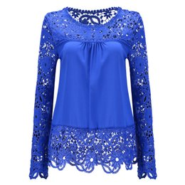 $enCountryForm.capitalKeyWord UK - Plus size Women Chiffon Blouses Shirts Long Sleeve Tops Lace Blouses Hollow out Crochet Blusas Femininas 2018 Fashion