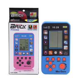 Discount tetris console - 1.18*1.57inch LCD screen Portable Retro Mini Handheld Tetris Game Console 4 Color Children Game Player Intelligence toys