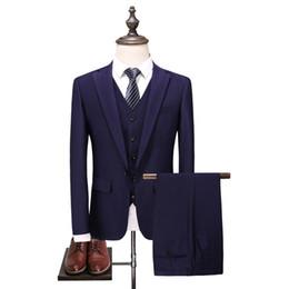 Groom Groomsmen Champagne Vest Australia - Custom fashion new men's men's suit three-piece suit (jacket + pants + vest) men's business formal suit wedding groom groomsmen dress