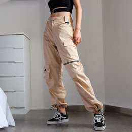 Khaki Trousers Women Canada - Khaki cargo pants with chain Women cool trousers Black white female street wear Casual autumn summer casual thin pants outwear