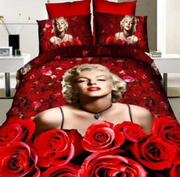 bag hand printed flowers Canada - 3D Reactive Printing Bedding Sets 100% Cotton Marilyn Monroe Red Rose Flower Four Pieces Quilt Duvet Cover Bed Sheet Pillowcase Bed In Bag