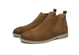 Discount nubuck suede shoes for men - Men leather boots guys ankle boots man suede leather shoes england style elastic braid shoes for men zymb01