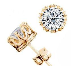 925 Silver Earrings Natural Crystal Crown Stud Earrings for Men or Women Jewelry