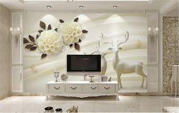Decorative Printed Wallpaper NZ - White Wallpaper 3d for walls living room wall decorative foto murales de pared custom any size ELK flower murals printing mural