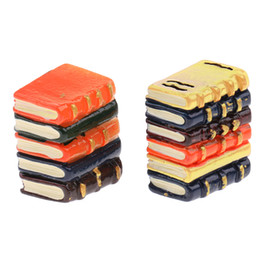 Toy Furniture Wholesale UK - Color Books Dollhouse Miniature Decoration For Dolls Resin Pretend Play Furniture Toys For Kids #OB013 16