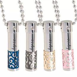 316l titanium necklace chain online shopping - Essential Oils Perfume Bottle Crystal Diamond Necklace L Titanium Lovers Oil Bottle Diffuser Locket Pendant Can be Opened Hollow Pendants