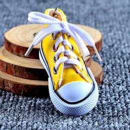 Metal Sneakers Australia - Shoes Charms 3D Sneaker Keychain Novelty Canvas Shoes Key Ring Shoes Key Chain Holder Handbag Pendant Favors