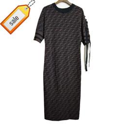 8d229cad4c1446 Pullover Kleid Double F Brief Overknee lange Kleid Ärmel Verband Bogen  Kurzarm anmutig Kleid Rock