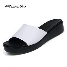 men platform slip 2019 - Plardin New Bohemia Summer Casual Women wedges Flat Sandals Platform Woman Ladies Beach Shoes Flip Flops Genuine leather