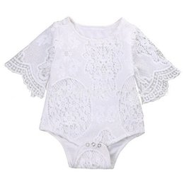 China Baby Clothes Rompers Toddler Clothing Baby Jumpsuit Girls Onesie Kids Lace New Solid Cute Romper Bat-wing Sleeve Rompers One-piece White DHL cheap bats lace suppliers