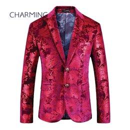 Traje de color marrón de lujo de los hombres de alta calidad jacquard estampado de tela estampado de producción para los cantantes de actor trajes casuales para hombres nuevos trajes f
