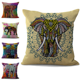 Chinese  Colorful Elephant Pillow Case Cushion cover linen cotton Throw Square Pillowcase Cover Decor Drop Ship 300743 manufacturers