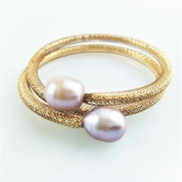 Freshwater pearl silver bracelets online shopping - Open type bracelet new Simple Natural Freshwater Pearls mm gold silver plated Net yarn with rhinestones Bracelets