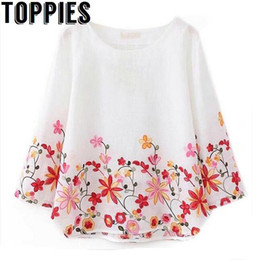 cotton linen blouses UK - Toppies Women 2018 O-neck Cotton Linen Blouse Floral Embroidery Top Pullovers Loose Vintage Shirt