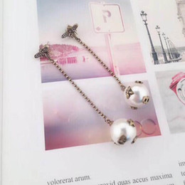 Brass Needles Australia - Latest Fashion Retro Crystal Bee Earrings Pearl Letters Dangle Drop Earring 925 Silver Needle Earring Women Girl Wedding Party Jewelry